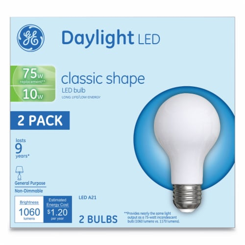 Led Classic Daylight A21 Light Bulb 10 W 2 Per Pack | 1 Pack of: 2 Perspective: front