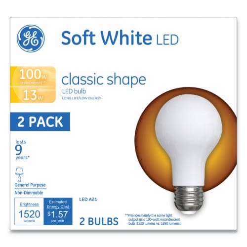 Classic LED Soft White Non-Dim A21 13 W 2 Per Pack | 1 Pack of: 2 Perspective: front
