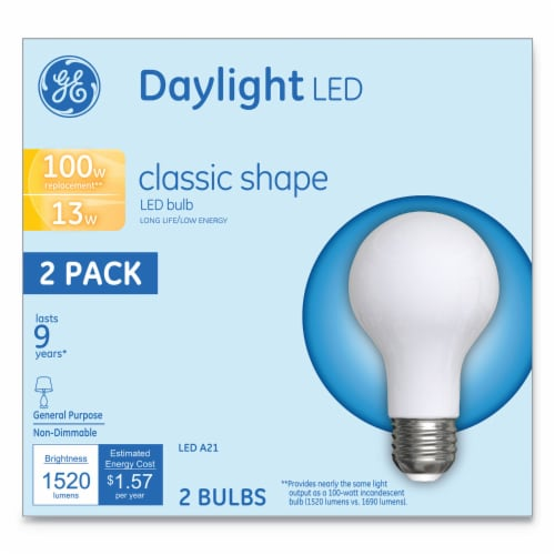 Led Classic Daylight A21 Light Bulb 13 W 2 Per Pack   1 Pack of: 2 Perspective: front