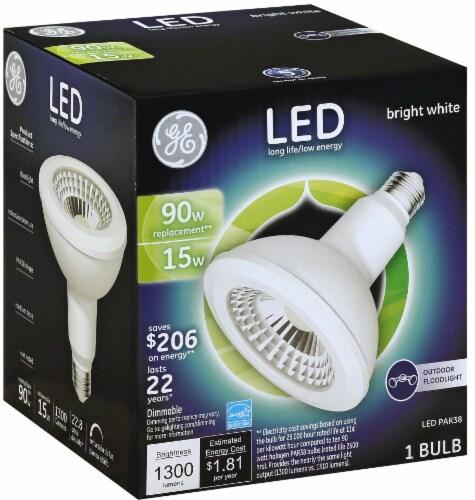 GE 15-Watt (90-Watt) Medium Base PAR38 Outdoor LED Floodlight Light Bulb Perspective: front