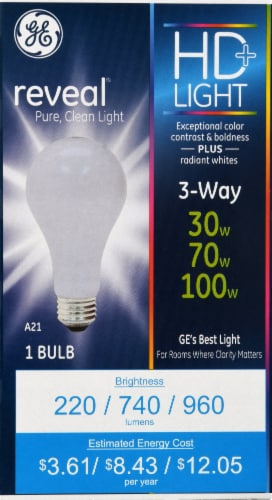 GE Reveal 3-Way Light Bulb Perspective: front
