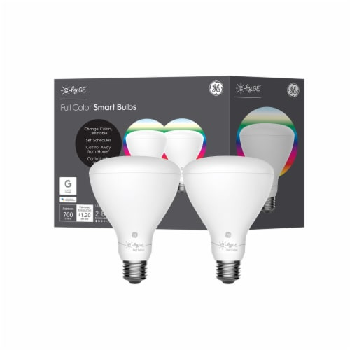 GE 65-Watt C Full Color BR30 Smart LED Light Bulbs Perspective: front