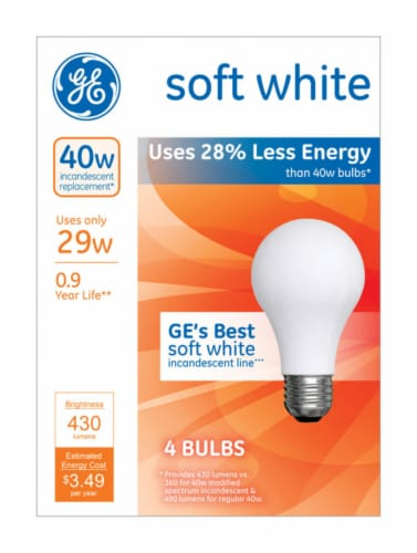 GE 29-Watt (40-Watt) A19 Halogen Light Bulbs Perspective: front