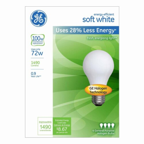 GE Energy-Efficient Soft White Halogen Light Bulbs Perspective: front