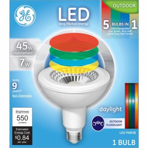 GE 7-Watt (45-Watt) PAR38 Floodlight 5-in-1 LED Light Bulb Perspective: front
