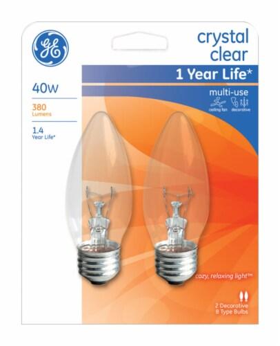 GE Crystal Clear 40-Watt Blunt Tip Medium Base Ceiling Fan Light Bulbs Perspective: front