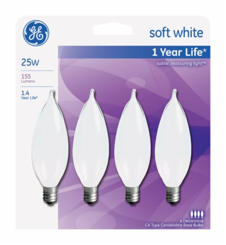 GE 25-Watt Bent Tip Candelabra Base Light Bulbs Perspective: front