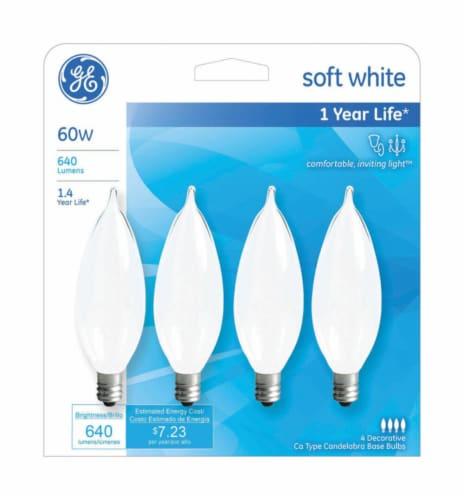 GE 60-Watt Bent Tip Candelabra Base Light Bulbs Perspective: front