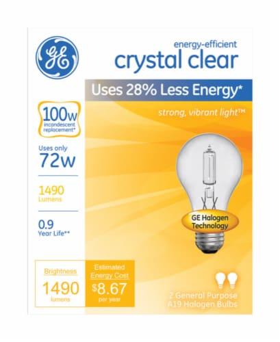 GE Crystal Clear 72-Watt (100-Watt) A19 General Purpose Halogen Light Bulbs Perspective: front