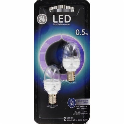 GE 0.5 Watt Candelabra Base Night Light LED Light Bulbs Perspective: front