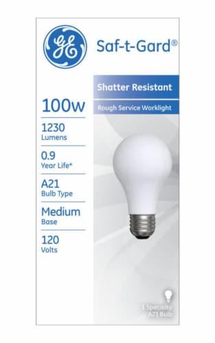 GE Saf-t-Gard® 100-Watt A21 Shatter Resistant Rough Service Worklight Light Bulb Perspective: front