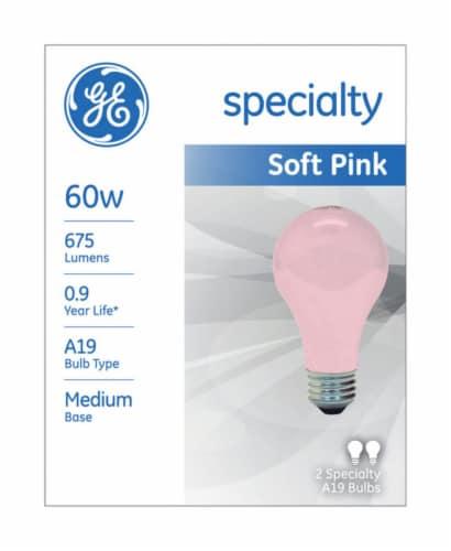 GE 60-Watt Soft Pink Light Bulbs Perspective: front