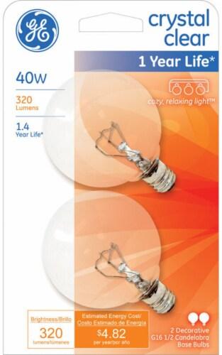 GE 40-Watt Candelabra Base G16.5 Globe Light Bulbs Perspective: front