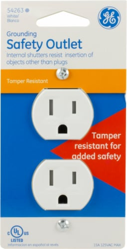 GE Grounding Safety Outlet - White Perspective: front