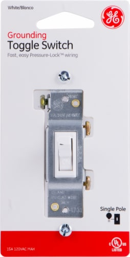 GE Grounding Toggle Switch - White Perspective: front