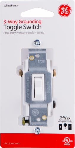 GE 3-Way Grounding Toggle Switch - White Perspective: front