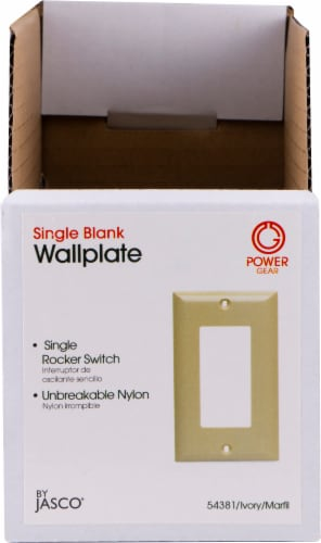 Power Gear Rocker Switch Wall Plate Shelf Display - Ivory Perspective: front