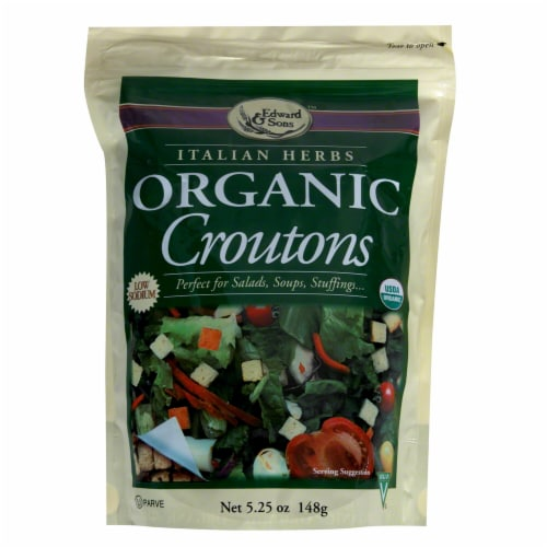 Edward & Sons Italian Herb Organic Croutons Perspective: front