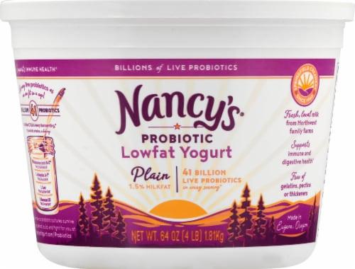 Nancy's Plain Lowfat Probiotic Yogurt Perspective: front