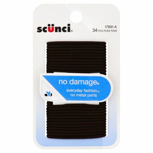 Scunci No Damage Everyday Fashion Brown Hair Elastics Perspective: front