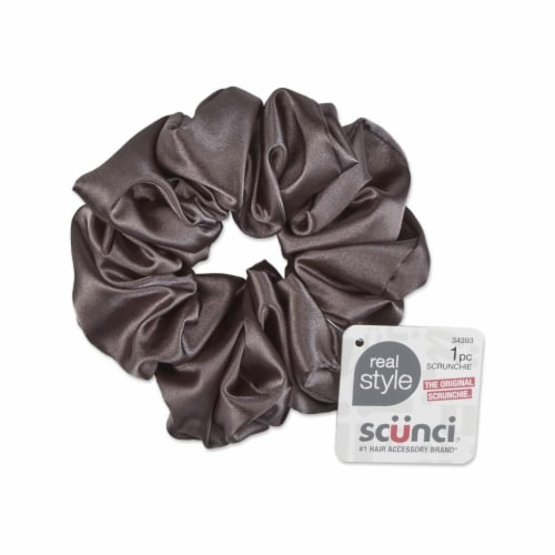 Scunci Satin Jumbo Scrunchie - Gray Perspective: front