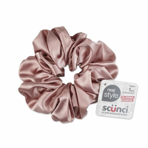 Scunci Satin Jumbo Scrunchie - Pink Perspective: front