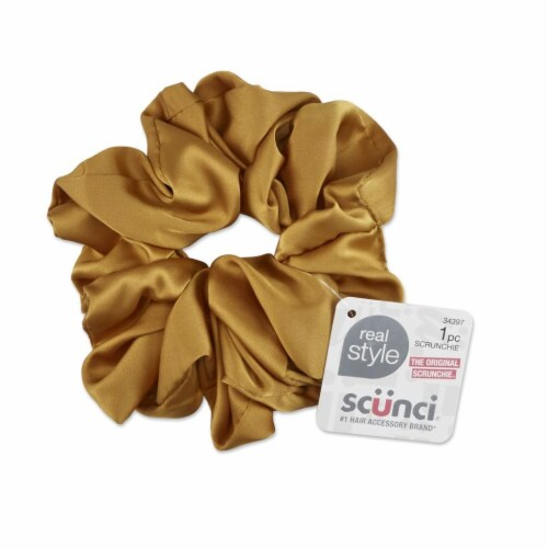 Scunci Satin Jumbo Scunchie - Gold Perspective: front