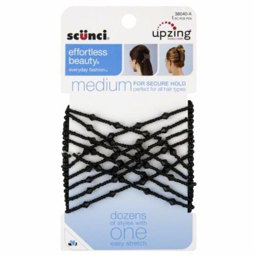 Scunci Medium Beaded Black Upzing Perspective: front