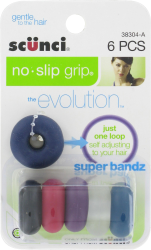 Scunci Hairbands No-Slip Grip Super Bandz Hair Ties Perspective: front