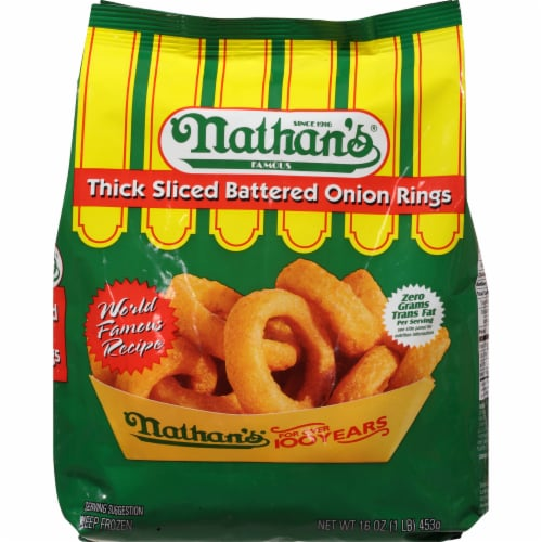 Nathan's Thick Sliced Battered Onion Rings Perspective: front