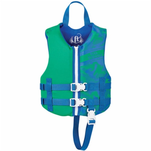 Full Throttle 142100-400-001-19 Full Throttle Child Life Jacket Rapid-Dry-Green Perspective: front