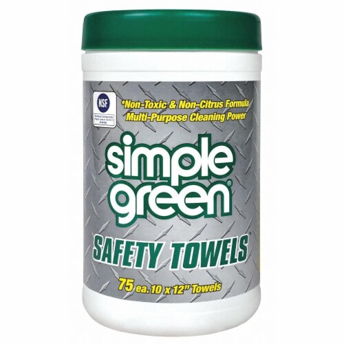 Simple Green Safety Towels, 10 X 11 3/4, 75/Canister 13351 Perspective: front