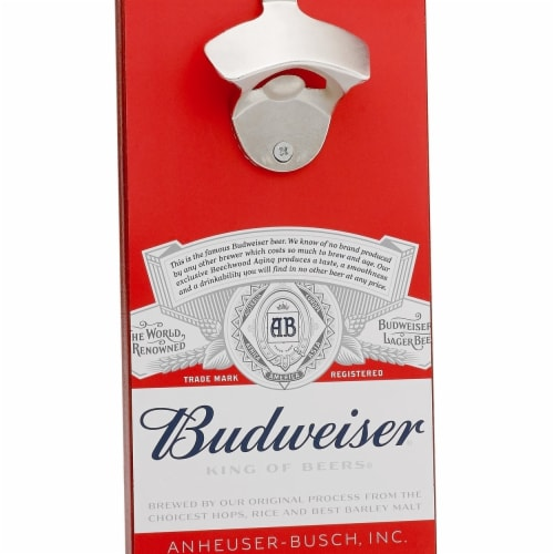 Budweiser 48350 Budweiser Bottle Opener with Magnetic Cap Catcher Perspective: front