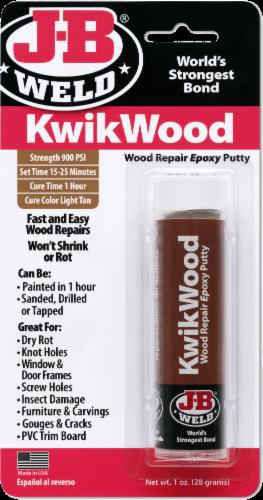 J-B Weld KwikWood Repair Epoxy Putty - Light Tan Perspective: front