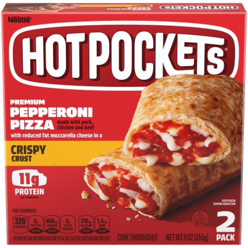 Hot Pockets Pepperoni Pizza Crispy Crust Sandwiches Perspective: front