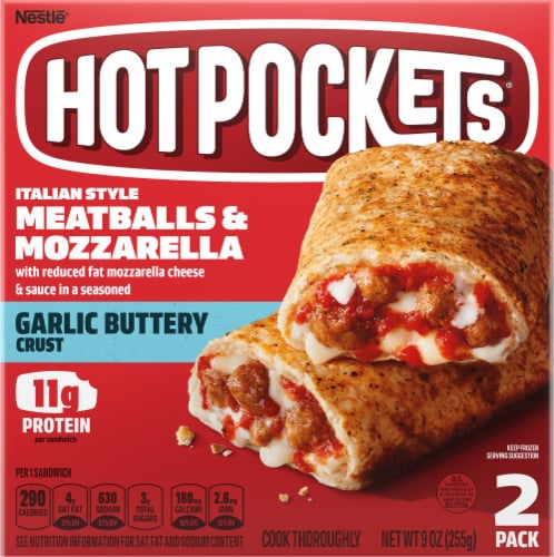 Hot Pockets Meatballs & Mozzarella Garlic Buttery Crust Sandwiches 2 Count Perspective: front