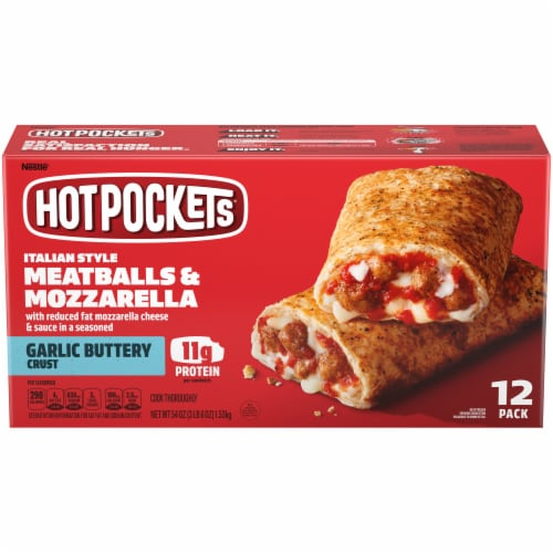 Hot Pockets Meatball & Mozzarella Garlic Buttery Crust Stuffed Sandwiches Perspective: front