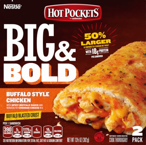 Hot Pockets Frozen Snack Big & Bold Buffalo Style Chicken Sandwich Perspective: front