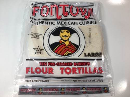 Fontova Large Pre-cooked Burrito Flour Tortillas 10 Count Perspective: front