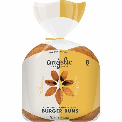 Angelic Bakehouse 7 Sprouted Whole Grains Hamburger Buns 8 Count Perspective: front