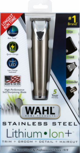 Wahl Stainless Steel Lithium Ion Hair Trimmer Perspective: front