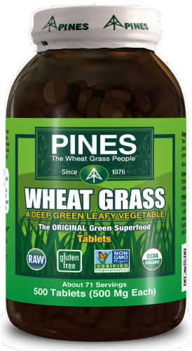 Pines Wheat Grass Green Superfood Tablets 500mg Perspective: front