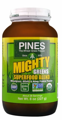 Pines International  Mighty Greens Superfood Blend Powder Perspective: front