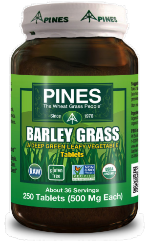 Pines Barley Grass Tablets 500mg Perspective: front