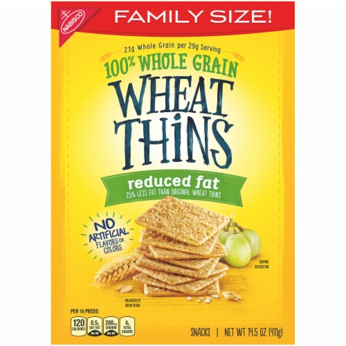Wheat Thins Reduced Fat Whole Grain Crackers Family Size Perspective: front