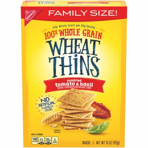 Wheat Thins Sundried Tomato & Basil Crackers Family Size Perspective: front