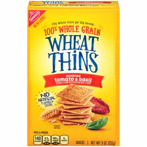 Wheat Thins Sundried Tomato & Basil Flavored Snack Crackers Perspective: front