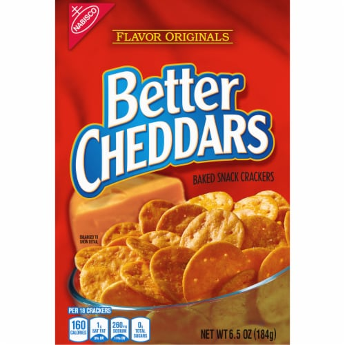 Nabisco Better Cheddars Baked Cheese Snack Crackers Perspective: front