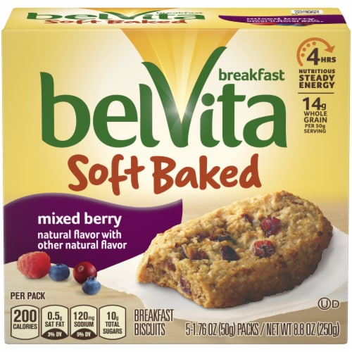 belVita Soft Baked Mixed Berry Breakfast Biscuits Perspective: front