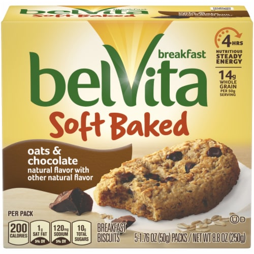belVita Soft Baked Oats & Chocolate Breakfast Biscuits Perspective: front
